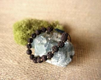 Brown Lava Rock - Adjustable Beaded Bracelet