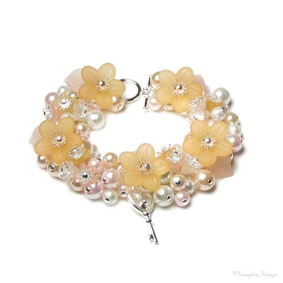 Peach Pink Flower Swarovski Crystal Silver Key Charm Bracelet, Romantic Fairytale, Secret Garden Key, Delicate Pearl Cluster, Bridal Jewelry