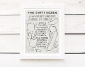 "dirty dozen - 11""x14"" kitchen art print - dark or light kitchen decor poster"