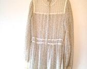Gunne Sax Prairie Style Cotton and Lace Dress, Vintage White Floral Print 70's Dress, Prairie Style 70's Dress