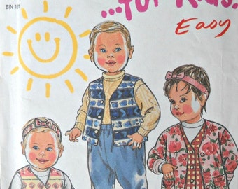 New Look 6458 for Kids Easy Jacket, Vest, Jumper, Pants, and Headband Pattern, Sizes NB, S, M, L, Vintage 1995