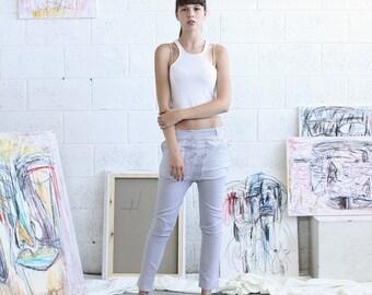Womens trousers ,Skinny pants, Linen Pants, Light Grey.