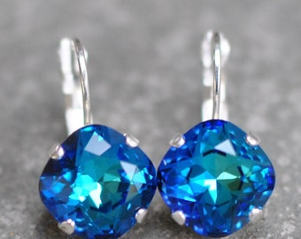 Bermuda Blue Navy Leverback Drop Earrings Swarovski Crystal Rare Rainbow Lever back Square Stud Earrings Rounded Square Cushion Mashugana