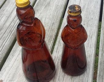 Set of Two Vintage Aunt Jemima Mrs. Butterworth's Pancake Syrup Bottles