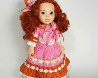 Upcycled Disney Merida Doll Restyled with Handmade Beaded Dress OOAKbarette. corsage, slip and pink Mary Janes