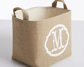 SALE! Monogrammed Burlap Storage Basket, White