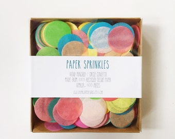 """Paper Sprinkles- Hand Punched 1"""" Circle Tissue Paper Confetti"""
