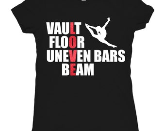 Tee Shirt Girls Gymnastics Shirt T-shirt Vault Floor uneven bars beam LOVE shirt gymnast gift Tshirt Glitter