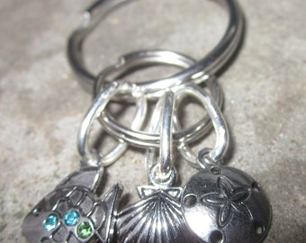 Hand crafted Seashell Sand dollar fish blue and green spakle stone small charm key chain