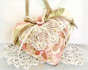 Heart Ornament 5 inch Heart Door Hanger Heart, Peach Pink Ivory Green, Decorative Heart Handmade CharlotteStyle Decorative Folk Art