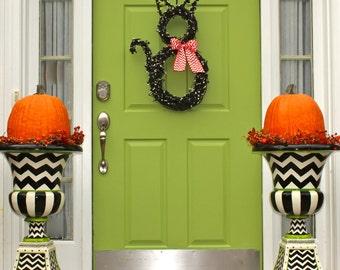 Halloween Wreath - Fall Wreath - Halloween Party - Black Cat Door Wreath