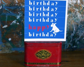 Birthday Bull Terrier Typography Card in Red White and Blue