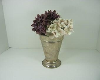 Vintage TARNISHED SILVERPLATE VASE Flower Bouquet Patina Floral WEDDiNG