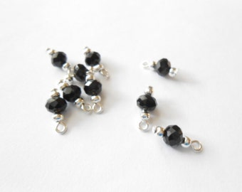 Black Faceted Rondelle Dangle Beads
