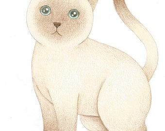 ON SALE 50% DISCOUNT, Original Cat Drawing, Cute Kitty Cat Illustration, Siamese Cat Pencil Drawing, Gift for cat Lovers