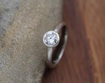 Moissanite Engagement Ring - Alternative Engagement Ring - Conflict Free Engagement Ring - Moissanite Bezel Engagement Ring