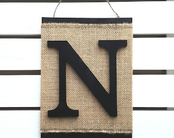 Monogram Letter Sign - Letter N Wall Hanging - 3D Letter Burlap Sign - Monogram Canvas Sign - Modern Rustic Wall Decor - Any letter A-Z
