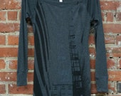 Sweater Dress, Ultra-Soft Lightweight Dark Grey Heather with 'Escape' in Black Ink