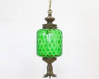 Hanging Pendant Lamp / Swag Lamp, Emerald Green Glass, Vintage Lighting