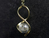 REAL DANDELION twisted glass orb bronze necklace
