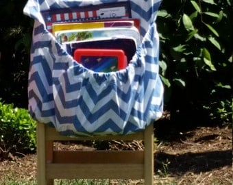 Dusky BLUE ChEvRoN // Chair Pockets // Teacher Classroom // Seat Sacks Organization <<16 inch PREMIUM>> End of Year SALE CoffeeKidsNDolls