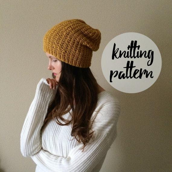 Slouchy Hat Knitting Pattern Circular Needles : Slouchy Hat Beanie Knitting Pattern / by KnittingWonders on Etsy