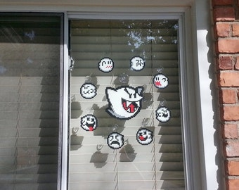 Boo Ghost Perler Bead Halloween set (9 piece) - window cling - suction cup - super mario - decorations