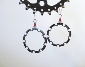 Recycled Bicycle Earrings , Unusual Jewelry , Industrial Jewelry