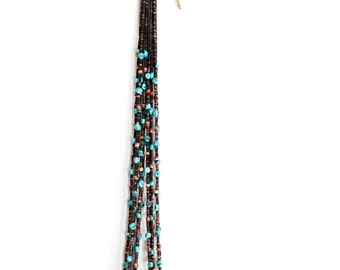 Vintage Native-American Turquoise/Coral 5-Strand Beaded Necklace - handmade, tribal, native, Indian, boho, turquoise, coral