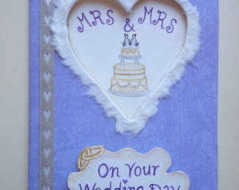 Handmade/Painted Mrs & Mrs Wedding Peep-Hole Card
