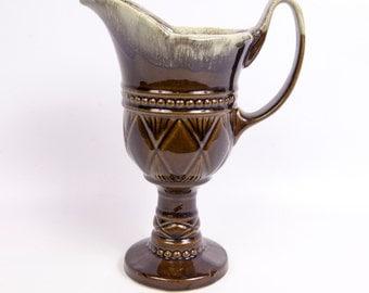 Vintage Hull Pottery USA F32 Ewer Brown Mint Green Drip Glaze Diamond Fan Pattern Footed Pitcher Flower Vase