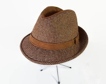 60s 70s Dobbs Hat, Fedora, Trilby, Tweed, Suede, Brown, Hipster