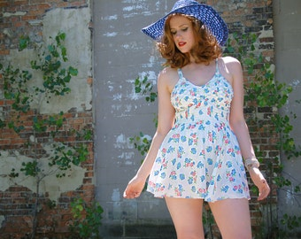 Vintage white floral one-piece swimsuit dress, 1950s blue pink S