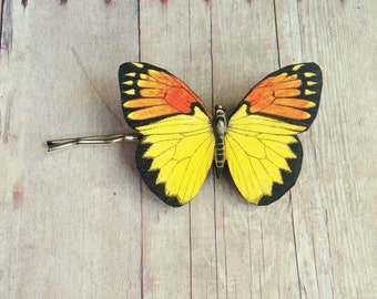 Orange Yellow Butterfly Hair Accessory Pin Barrette Insect Accessories