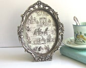 "Vintage Silver Frame, Victorian Style, Silverplate Oval, Arabesque Floral, Heavy Cast Frame, Velvet Easel Back,  5"" x 6.5"" Photo Area"