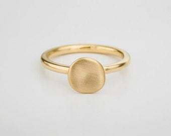 Gold Cloud Ring, Stacking Signet Ring Solid Gold Ring, 18k Yellow Gold, Seal Ring, Unique Ring for Woman, Amorphous Stack Ring Organic Ring