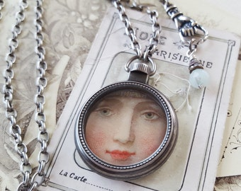 Pocket Watch Necklace long chain, Victorian Face, Victorian Children, Long Locket Necklace, Original Assemblage Jewelry veryDonna