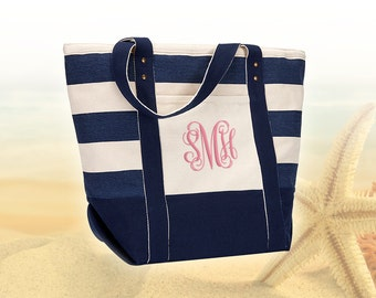 Monogram Seaside Zippered Tote, Personalized Beach Bag Tote, Monogrammed Beach Tote Bags, Personalized Canvas Tote Bag, Monogram Beach Bag