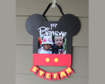 Mickey Mouse Picture Frame - Die Cut Mickey Mouse Inspired Frame - 1st Birthday Picture Frame - Custom Frame - Personalized Picture Frame