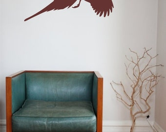 Pheasant Wall Graphic Vinyl Decal Sticker - Flying Pheasant Wall Decal - Above the Bed Pheasant Decal - Behind the Couch Pheasant Decal