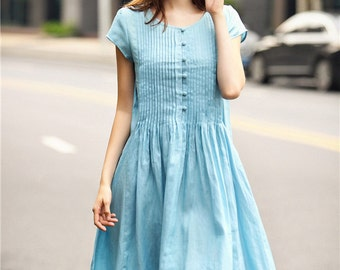 Blue Linen Dress With Pintucks And Big Pockets, Pale Blue Tunic Dress, Party Dress, Blue Prom Dress, Casual Pleated Dress, Loose Fitting