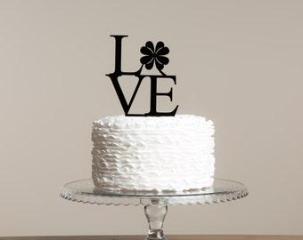 LOVE Shamrock Clover St. Patrick's Day Irish Themed Cake Topper