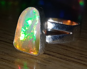 Video 5ct Opal Awesome Flashy Ethiopian Fire Opal Handmade 925 Solid Sterling Silver Ring Size 7.75 Free Shipping And 10% Off At Checkout