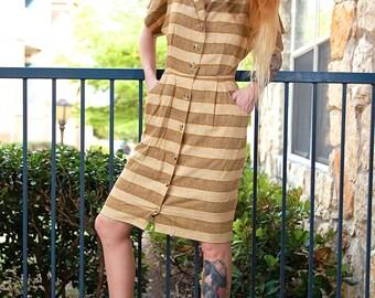 60's Jackie O Textured Linen Mod Button Down Pencil Skirt Dress // Women's Small S