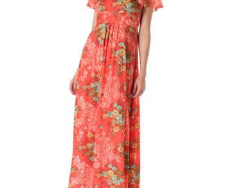 1970s Floral Printed Collar Maxi Summer Dress SIZE: S, 4