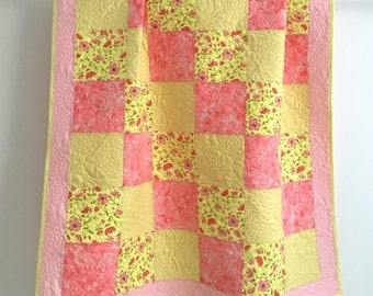 Adorable Baby Girl Quilt with Floral Prints Shades of Pink Yellow Citron