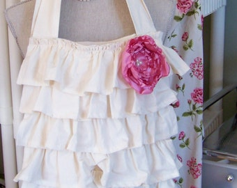 Ruffled Muslin Tote with Pink Rose Flower, Muslin Totes, Tote Bags, Ruffled Bags, Spring Tote, Totes, Ruffled Totes, Pink Roses, Market Tote