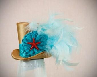 Beach Mini Top Hat,mad hatter hat, tea party hat, alice in wonderland hat,burlesque hat,fascinator, showgirl,steampunk hat, small hat,