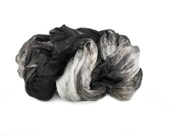 black silk scarf - Absolute - white, grey, black silk ruffled scarf.