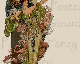 Beautiful Art Nouveau Vintage Postcard Image by Eva Danielle circa 1910